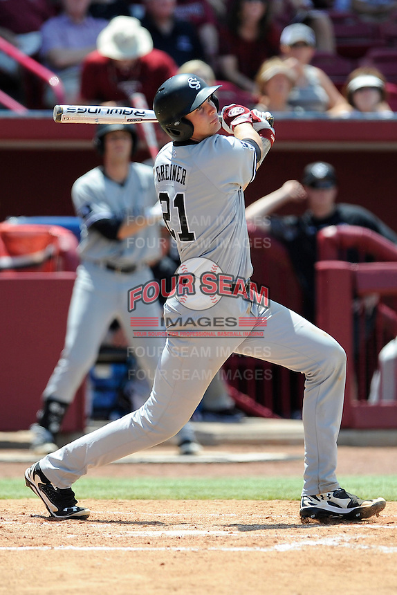Catcher Grayson Greiner (21) of the South Carolina Gamecocks in an NCAA Division I Baseball Regional Tournament game against the Campbell Camels on Sunday, June 1, 2014, at Carolina Stadium in Columbia, South Carolina. (Tom Priddy/Four Seam Images)