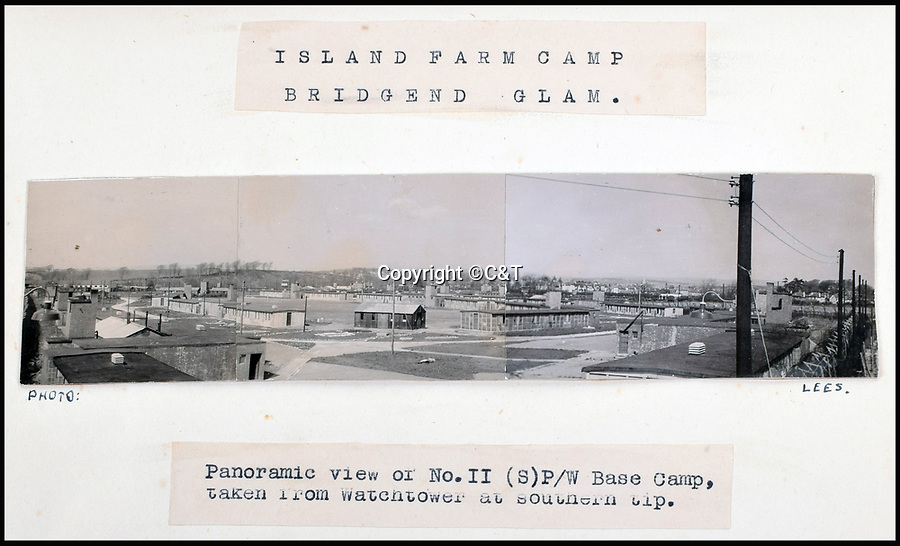 BNPS.co.uk (01202 558833)<br /> Pic: C&T/BNPS<br /> <br /> Panoramic view of Island Farm camp taken from the watchtower during the war.<br /> <br /> Die Grosse Flucht - The German Great Escape<br /> <br /> The incredible story of 84 Germans who escaped from a Welsh Prisoner of War Camp during World War Two has been retold after their hidden tunnel was discovered and excavated. <br /> <br /> On March 10 1945 a whole hut of captured Axis officers descended underground and successfully executed a brazen getaway in a scene reminiscent of those played out in the 1963 epic The Great Escape. <br /> <br /> Over 70 years later a team of scientists and historians entered the deserted Camp 198 in Bridgend to examine the only remnant of it, Hut 9, where the cunning plan was hatched. <br /> <br /> Dr Jamie Pringle, of Keele University in Staffordshire, who previously helped locate 'Dick', one of the three famous Great Escape tunnels at Stalag Luft III, led the investigation.