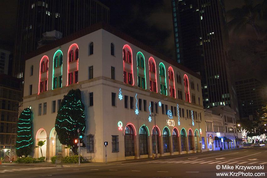 HECO building decorated w/ Christmas lights in Downtown Honolulu, Oahu, Hawaii