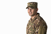 US Army soldier, model-released, DoD-compliant, studio and exterior portraits -- stock photograph