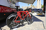 Burgos-BH bikes lined up at the team bus before Stage 1 of the La Vuelta 2018, an individual time trial of 8km running around Malaga city centre, Spain. 25th August 2018.<br /> Picture: Eoin Clarke | Cyclefile<br /> <br /> <br /> All photos usage must carry mandatory copyright credit (© Cyclefile | Eoin Clarke)