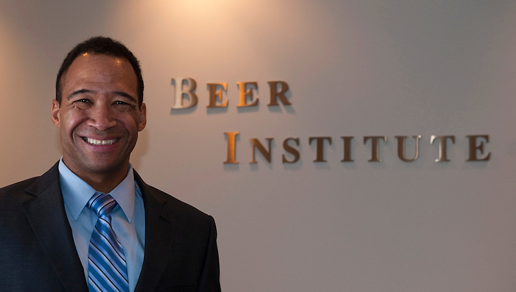 WASHINGTON, DC - Sept. 14: Joe McClain, president of the Beer Institute, in the organization's lobby. (Photo by Scott J. Ferrell/Congressional Quarterly)