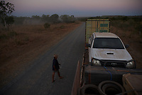 Nick Atkins checking the truck and securing the road after a section of heavy corrugations on the Gibb River Road, on his way from Kununurra to Kalumburu.