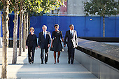 On the 10th anniversary of the September 11th attacks, former First Lady Laura Bush, former United States President George W. Bush, First Lady Michelle Obama and U.S. President Obama at the North Pool at the September 11th Memorial at the World Trade Center site in New York, New York on September 11, 2011..Credit: Jefferson Siegel / Pool via CNP