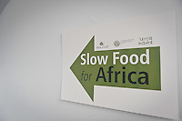 The banner of meeting on the Slow Food Foundation for Biodiversity a thousand gardens in Africa in February 17, 2014. Photo: Adamo Di Loreto/BuenaVista*photo