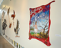 NWA Democrat-Gazette/BEN GOFF @NWABENGOFF<br /> Textile works by New Orleans based artist Gina Phillips, hang on display on Friday, Aug. 28, 2015 during an opening reception and tour of the exhibit of Phillips' work at 21C Museum Hotel in Bentonville,