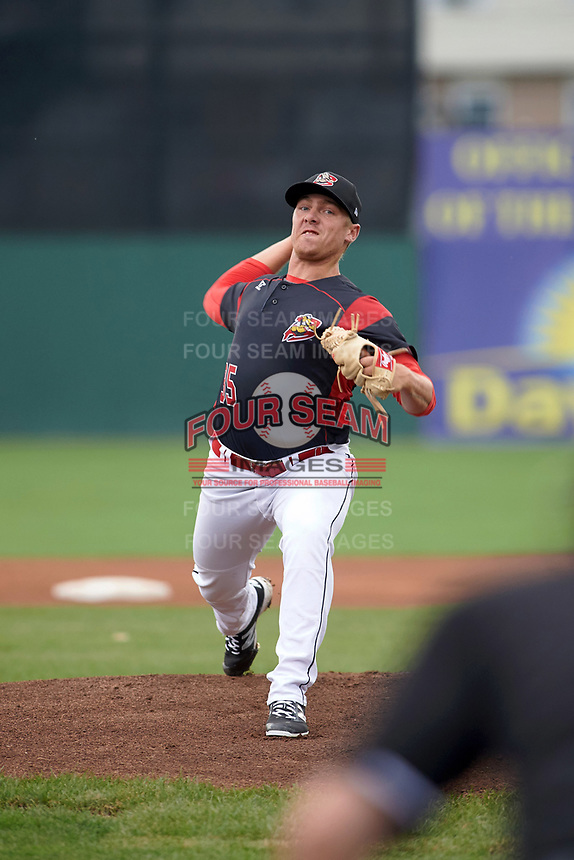 Batavia Muckdogs starting pitcher Ryan Lillie (35) delivers a warmup pitch during a game against the Lowell Spinners on July 12, 2017 at Dwyer Stadium in Batavia, New York.  Batavia defeated Lowell 7-2.  (Mike Janes/Four Seam Images)