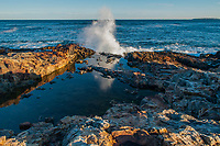 A wave crashing along the shore in front of a tidal pool in Acadia National Park in Maine