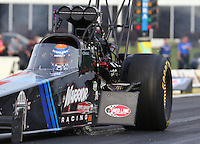 May 15, 2015; Commerce, GA, USA; Fuel leaks from the engine of NHRA top fuel driver Cory McClenathan during qualifying for the Southern Nationals at Atlanta Dragway. Mandatory Credit: Mark J. Rebilas-USA TODAY Sports