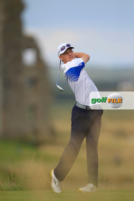 Simon Ward (Co. Louth) on the 13th tee during the South of Ireland Amateur Open Championship Second Round at Lahinch Golf Club  28th July 2013 <br /> Picture:  Thos Caffrey / www.golffile.ie