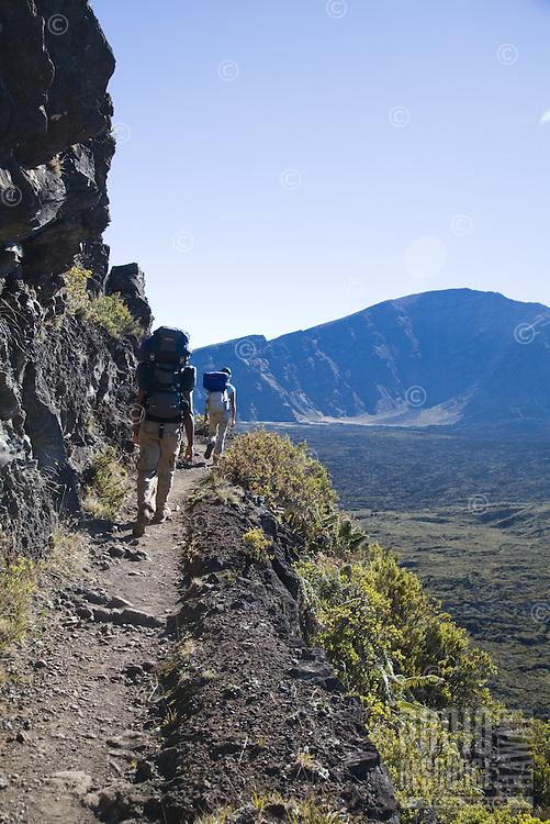 Friends hiking out of the Haleakala crater on the Halemaumau Trail
