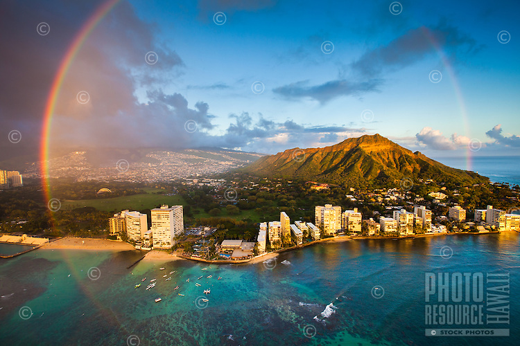An epic full rainbow around Diamond Head and the Gold Coast on O'ahu.