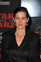 Carrie-Anne Moss at the world premiere for &quot;Star Wars: The Last Jedi&quot; at the Shrine Auditorium. Los Angeles, USA 09 December  2017<br /> Picture: Paul Smith/Featureflash/SilverHub 0208 004 5359 sales@silverhubmedia.com