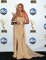 """US talk show host Tyra Banks poses with her award for Outstanding Talk Show/Informative for """"The Tyra Banks Show""""  at the 35th Annual Daytime Emmy Awards held at the Kodak Theatre in Los Angeles on June 20, 2008."""