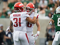 NWA Democrat-Gazette/BEN GOFF @NWABENGOFF<br /> Grant Morgan, Arkansas linebacker, congratulates Ryder Lucas, Arkansas defensive back, on a stop in the 1st quarter vs Colorado State Saturday, Sept. 8, 2018, at Canvas Stadium in Fort Collins, Colo.