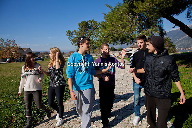 Greek students from left: Agathi Sideri,17, Ersi Kyrochristou,17, Andreas Nasios,18, Christos Dimitriadis,18, Konstantinos Vartziotis,18, and Dinos Athanasiou,18, relax from their lessons near by the Ioannina lake.