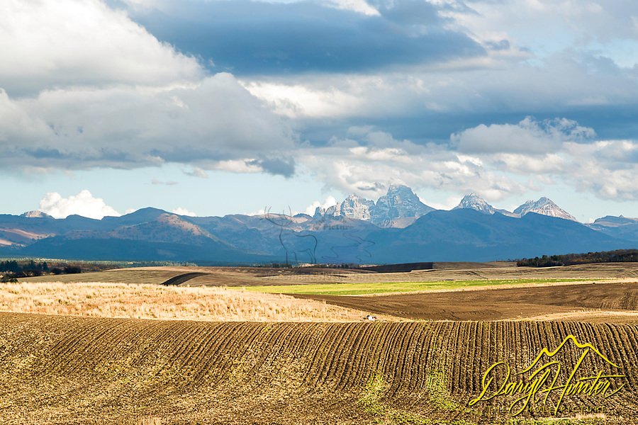 Plowed fields and crops of the rolling hills of Ashton Idaho. Crowned by the Grand Teton Mountain Range, Ashton and Teton Valley have to be some of the prettiest farmland anywhere.