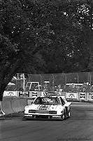 Bobby Rahal drives a Zakspeed Roush Ford Mustang Turbo during the 1983 IMSA race on the streets of Miami, Florida.