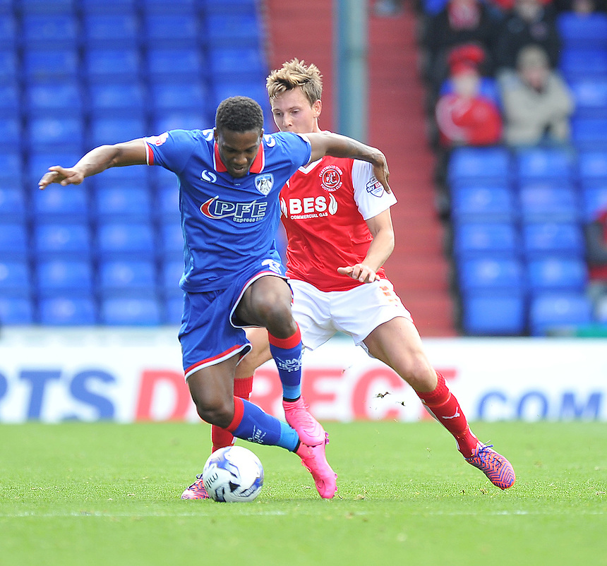 Oldham Athletic's Dominic Poleon holds off Fleetwood Town's Eggert Jonsson<br /> <br /> Photographer Dave Howarth/CameraSport<br /> <br /> Football - The Football League Sky Bet League One - Oldham Athletic v Fleetwood Town - Saturday 15th August 2015 - SportsDirect.com Park - Oldham<br /> <br /> &copy; CameraSport - 43 Linden Ave. Countesthorpe. Leicester. England. LE8 5PG - Tel: +44 (0) 116 277 4147 - admin@camerasport.com - www.camerasport.com