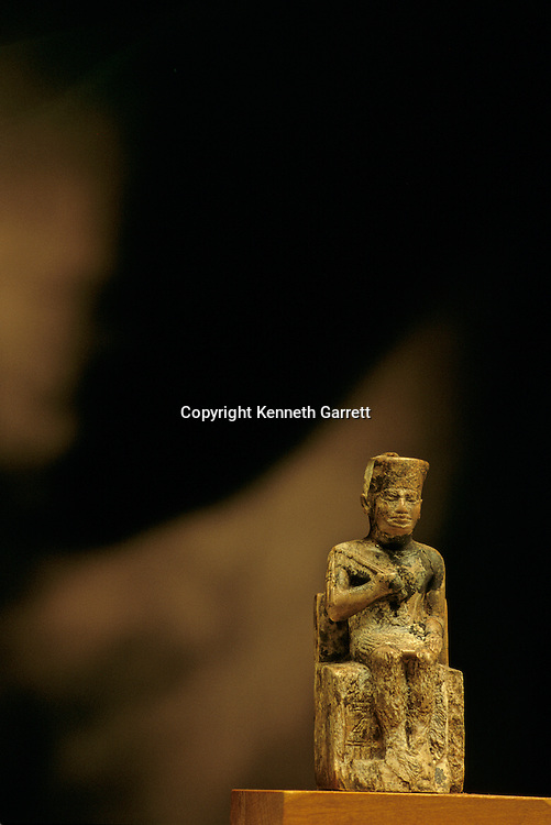 Ivory statuette of Khufu holding a flail and wearing the Red Crown of Lower Egypt, Old Kingdom