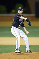 Duke Blue Devils relief pitcher Nick Hendrix (25) in action against the Wake Forest Demon Deacons at Wake Forest Baseball Park on April 25, 2014 in Winston-Salem, North Carolina.  The Blue Devils defeated the Demon Deacons 5-2.  (Brian Westerholt/Four Seam Images)