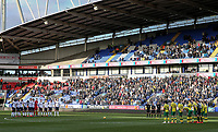 Bolton Wanderers and Norwich City players pay their respects to the late Gordan Banks <br /> <br /> Photographer Andrew Kearns/CameraSport<br /> <br /> The EFL Sky Bet Championship - Bolton Wanderers v Norwich City - Saturday 16th February 2019 - University of Bolton Stadium - Bolton<br /> <br /> World Copyright © 2019 CameraSport. All rights reserved. 43 Linden Ave. Countesthorpe. Leicester. England. LE8 5PG - Tel: +44 (0) 116 277 4147 - admin@camerasport.com - www.camerasport.com