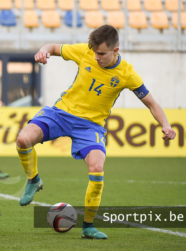 20170323 - BEVEREN , BELGIUM : Swedish Dusan Jajic pictured during the UEFA Under 19 Elite round game between Sweden U19 and Belgium U19, on the first matchday in group 7 of the Uefa Under 19 elite round in Belgium , thursday 23 th March 2017 . PHOTO SPORTPIX.BE | DIRK VUYLSTEKE