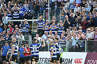 Bath Rugby supporters in the crowd celebrate Matt Banahan's third try of the match. Aviva Premiership match, between Bath Rugby and London Irish on May 5, 2018 at the Recreation Ground in Bath, England. Photo by: Patrick Khachfe / Onside Images