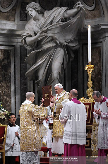 Pope Benedict XVI The pontiff appointed two new bishops during the mass. the Solemnity of Epiphany at St Peter's basilica at the Vaticanon January 6, 2012 .