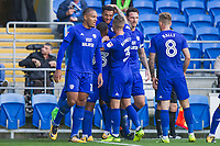 Nathaniel Mendez-Laing of Cardiff City (top) celebrates scoring his side's first goal during the Sky Bet Championship match between Cardiff City and Aston Villa at the Cardiff City Stadium, Cardiff, Wales on 12 August 2017. Photo by Mark  Hawkins / PRiME Media Images.