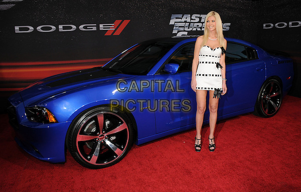 "Tara Reid.""Fast & Furious 6"" Los Angeles Premiere held at the Universal Gibson Amphitheatre, Universal City, California, USA..May 21st, 2013.full length dress ribbons bows sandals shoes white black weave strapless  car  .CAP/ADM/BP.©Byron Purvis/AdMedia/Capital Pictures"