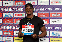 Omar McLeod (Jamaica) – 110m hurdles - Olympic & world champion during the Muller Anniversary Games 2019 pre-event media day at the Leonardo Royal Hotel, Prescod Street, England on 19 July 2019. Photo by Alan  Stanford.