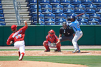 Charlotte Stone Crabs left fielder Bralin Jackson (24) awaits a pitch from Tom Eshelman (39) while at bat in front of catcher Chace Numata (50) and umpire Mike Savakinas during a game against the Clearwater Threshers on April 13, 2016 at Bright House Field in Clearwater, Florida.  Charlotte defeated Clearwater 1-0.  (Mike Janes/Four Seam Images)