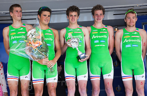 22 MAY 2011 - DUNKERQUE, FRA - Sartrouville team members (from the left) Richard Varga, Javier Gomez, Jonathan Brownlee, Alistair Brownlee and Etienne Diemunsch pose for pictures after winning the men's round of the 2011 French Grand Prix triathlon series .(PHOTO (C) NIGEL FARROW)