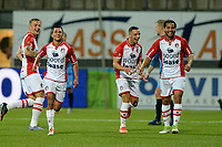 EMMEN - Voetbal, FC Emmen - SC Cambuur, Jens Vesting, Jupiler League, seizoen 2017-2018, 06-10-2017,  FC Emmen speler Omran Haydary viert de 2-0