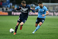 17th November 2019; Jubilee Oval, Sydney, New South Wales, Australia; A League Football, Sydney Football Club versus Melbourne Victory; Josh Hope of Melbourne Victory shields the ball from Paulo Retre of Sydney