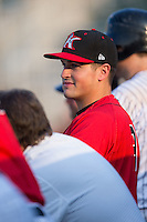 Kannapolis Intimidators hitting coach Justin Jirschele (9) watches the action from the dugout during the game against the Asheville Tourists at Kannapolis Intimidators Stadium on May 26, 2016 in Kannapolis, North Carolina.  The Tourists defeated the Intimidators 9-6 in 11 innings.  (Brian Westerholt/Four Seam Images)