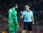 Sergio Alvarez of Celta Vigo gets warned by referee Ovidiu Hategan during the Europa League Semi Final 2nd Leg match at Old Trafford Stadium, Manchester. Picture date: May 11th 2017. Pic credit should read: Simon Bellis/Sportimage