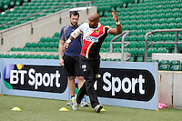 Tom Varndell of London Wasps coaches members of the media during the Aviva Premiership Rugby London Wasps Sprint Clinic at Twickenham Stadium on Monday 14th April 2014 (Photo by Rob Munro)