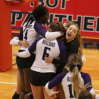 Arkansas Democrat-Gazette/STATON BREIDENTHAL --10/29/19-- Fayetteville players celebrate Tuesday after beating Mount St. Mary Academy in the 6A state Volleyball Tournament in Cabot. See more photos at arkansasonline.com/1030volleyball6A/.