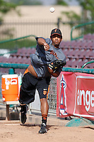 Luis Rojas #39 of the San Jose Giants throws in the bullpen before a game against the Inland Empire 66'ers at San Manuel Stadium on May 21, 2013 in San Bernardino, California. San Jose defeated Inland Empire, 8-0. (Larry Goren/Four Seam Images)