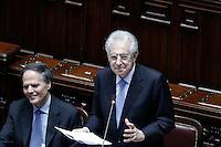 Il presidente del Consiglio Mario Monti durante il suo intervento, a sinistra Enzo Moavero Milanese .Roma 05/07/2012 Camera dei Deputati - Informativa urgente del Governo sugli esiti del Consiglio europeo del 28-29 giugno.Foto Serena Cremaschi Insidefoto