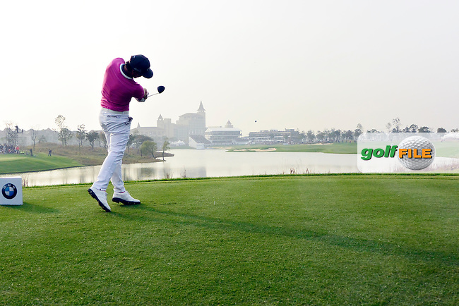 Kristoffer Broberg (SWE) on the 18th during the final round of the BMW Masters, Lake Malarian Golf Club, Boshan, Shanghai, China.  15/11/2015.<br /> Picture: Golffile | Fran Caffrey<br /> <br /> <br /> All photo usage must carry mandatory copyright credit (&copy; Golffile | Fran Caffrey)