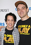 T.R. Knight and Micah Stock backstage at United presents 'Stars in the Alley' in  Shubert Alley on May 27, 2015 in New York City.