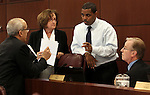 Nevada Democrats talk during a break in a budget hearing Friday morning, May 6, 2011, at the Legislature in Carson City, Nev. From left are Sen. Mo Denis, Assemblywoman Debbie Smith, Senate Majority Leader Steven Horsford, and Sen. David Parks. .Photo by Cathleen Allison