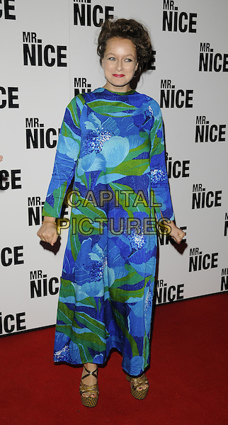 "SAMANTHA MORTON .Attending the ""Mr. Nice"" UK Film Premiere, Cineworld cinema, Haymarket, London, England, UK, October 4th 2010..full length blue green print  dress long sleeve maxi wedges platform sandals gold .CAP/CAN.©Can Nguyen/Capital Pictures."