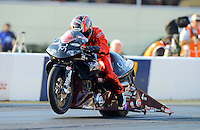 Oct. 5, 2012; Mohnton, PA, USA: NHRA pro stock motorcycle rider Matt Smith during qualifying for the Auto Plus Nationals at Maple Grove Raceway. Mandatory Credit: Mark J. Rebilas-