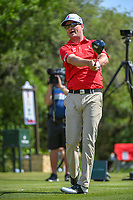Zach Johnson (USA) watches his tee shot on 9 during Round 1 of the Valero Texas Open, AT&amp;T Oaks Course, TPC San Antonio, San Antonio, Texas, USA. 4/19/2018.<br /> Picture: Golffile | Ken Murray<br /> <br /> <br /> All photo usage must carry mandatory copyright credit (&copy; Golffile | Ken Murray)