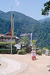 Pilgrims at Nachi Taisha Pagoda and Waterfall