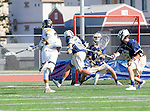 Tustin, CA 04/23/16 - Ryan Winn {La Costa Canyon #12), Daniel Verga {La Costa Canyon #27)Pierce Maczko {La Costa Canyon #28) and Kevin Kodzis (Foothill #34) in action during the non-conference CIF varsity lacrosse game between La Costa Canyon and Foothill at Tustin Union High School.  Foothill defeated La Costa Canyon 10-9 in sudden death overtime.